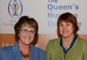 Receiving my Queen's Nursing Institute fellowship from QNI chair Ros Lowe